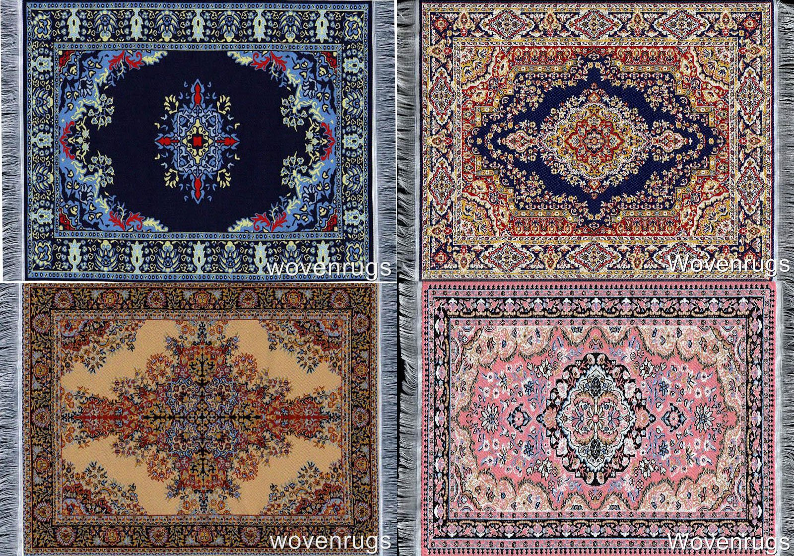 Inusitus Set of Miniature Woven Dollhouse Carpets - Dolls House Toy Rugs - 1/12 Scale Barbie Furniture Accessories (Mix-4-1)