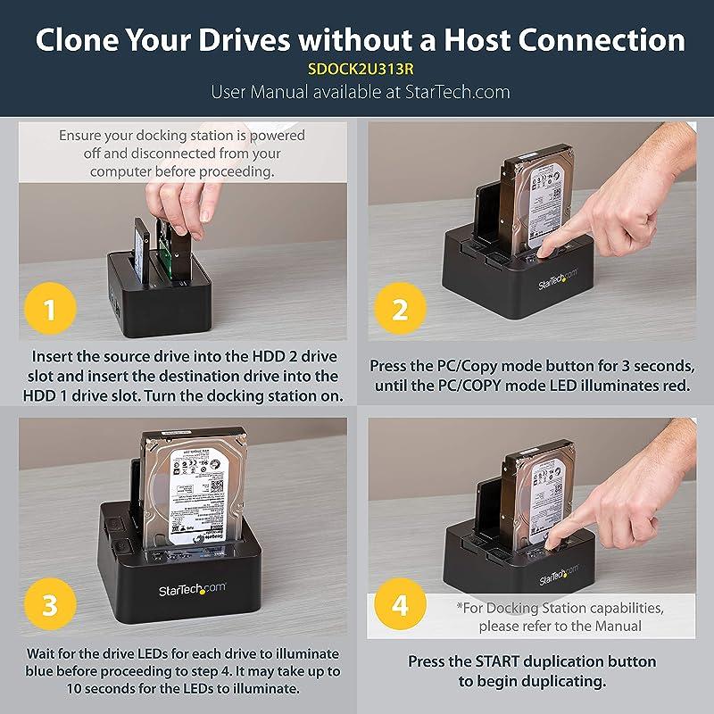 StarTech.com USB 3.1 (10Gbps) Hard Drive Duplicator Dock for 2.5