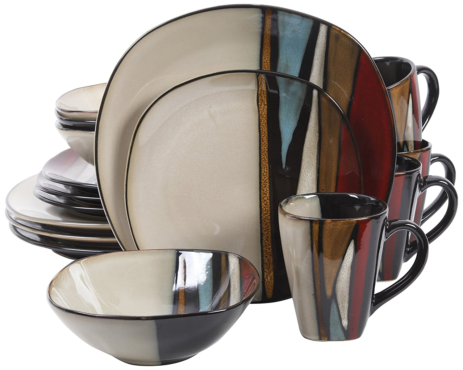 Gibson Elite Althea 16 Piece Reactive Glaze Dinnerware, Multicolor