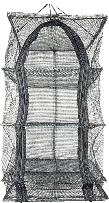 13.8inch Black 3 Layer Non-Toxic Nylon Netting Collapsible Mesh Hanging Drying Dry Rack Net Food Dehydrator Receive Storage Carrying Bag(35x35cm/13.8x13.8inch) (Black-35CM, Black)