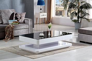Table Basse Moderne Florence Noir Et Blanche Brillante Avec Vitre