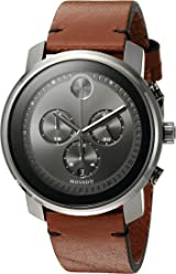 b422a6856 Movado Men's Swiss Quartz Stainless Steel and Brown Leather Casual Watch  (Model: 3600367)