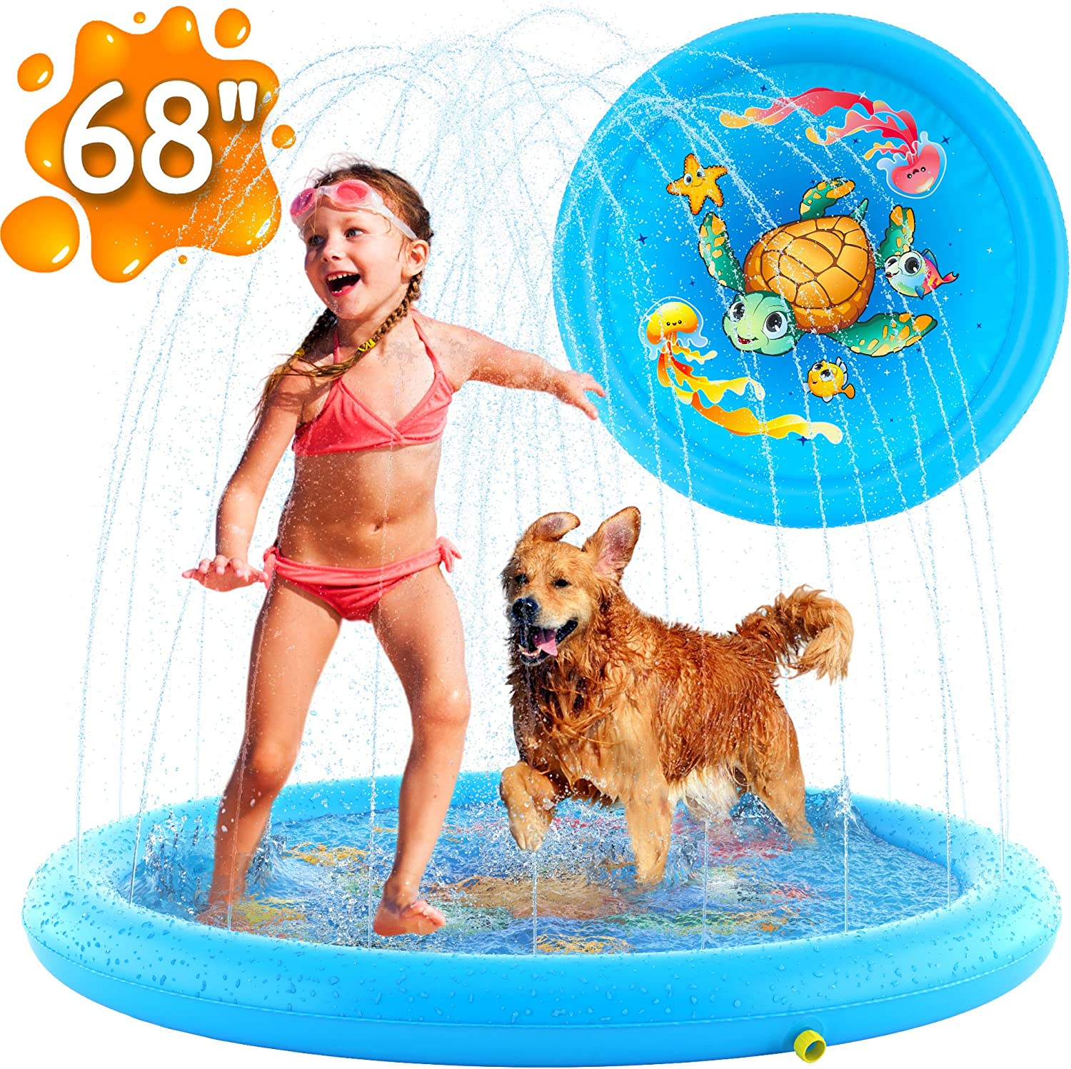 """Inflatable Splash Pad Sprinkler for Kids Toddlers, Kiddie Baby Pool, Outdoor Games Water Mat Toys - Baby Infant Wadin Swimming Pool - Fun Backyard Fountain Play Mat for 1 -12 Year Old Girls Boys (68"""")"""