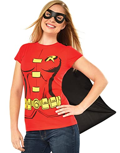DC Comics Women's Robin T-Shirt With Cape And Eye Mask, Red, X-Large
