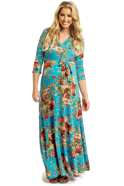 PinkBlush Maternity Floral Draped 3/4 Sleeve Maxi Dress at Amazon ...