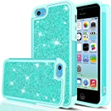 iPhone 5C Case,iPhone 5C Glitter Case with HD Screen Protector,LeYi Bling Cute Girls Women Design [PC Silicone Leather] Dual Layer Heavy Duty Protective Phone Case for iPhone 5C TP Mint