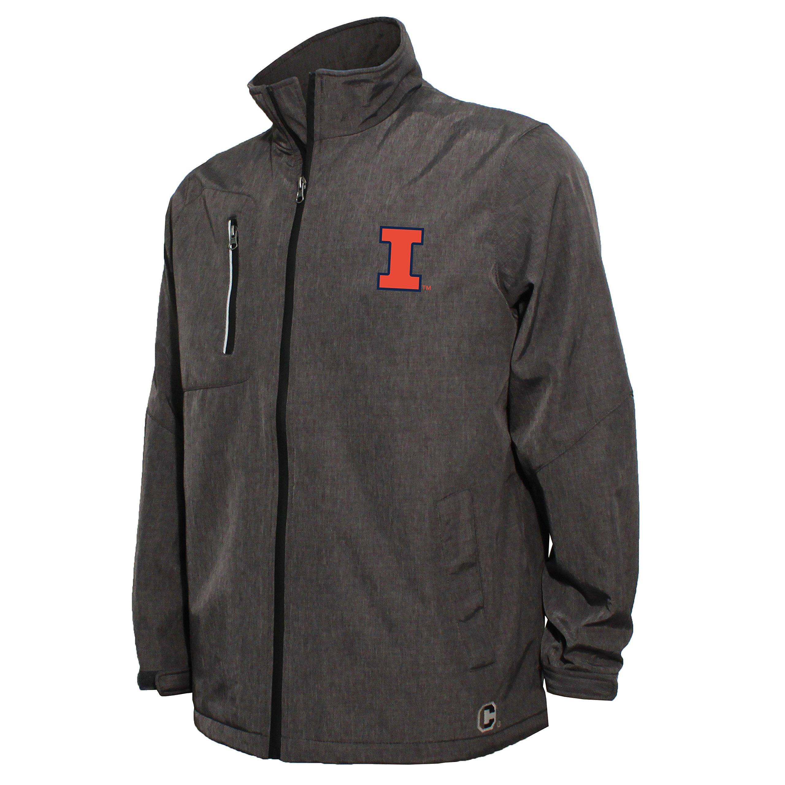 NCAA Illinois Illini Men's Bonded Stand Up Collar Stadium Jacket, Small, Dark Gray