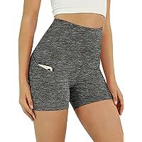 ODODOS Women's High Waist Biker Shorts with Pockets, Tummy Control Non See Through Workout Running Yoga Shorts
