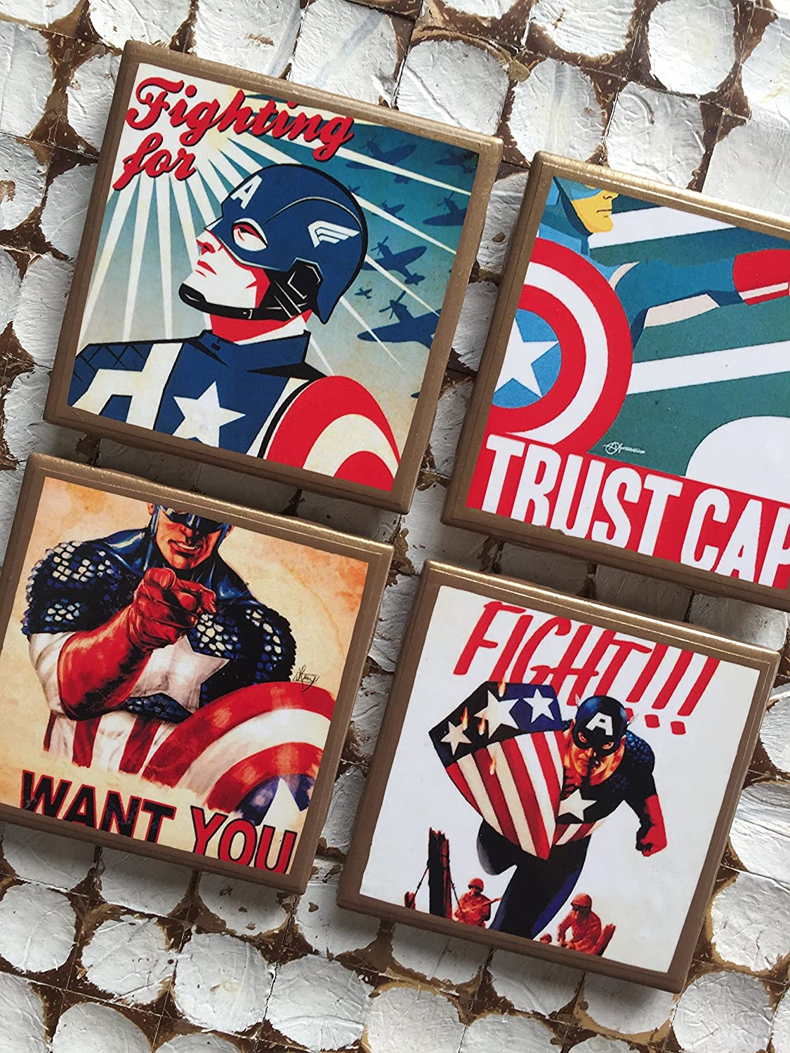 Vintage Captain America Coasters with gold trim