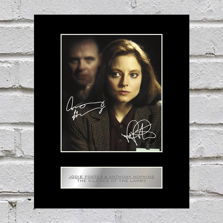 Jodie Foster y Anthony Hopkins firmado foto enmarcada el silencio de los corderos: Amazon.es: Hogar