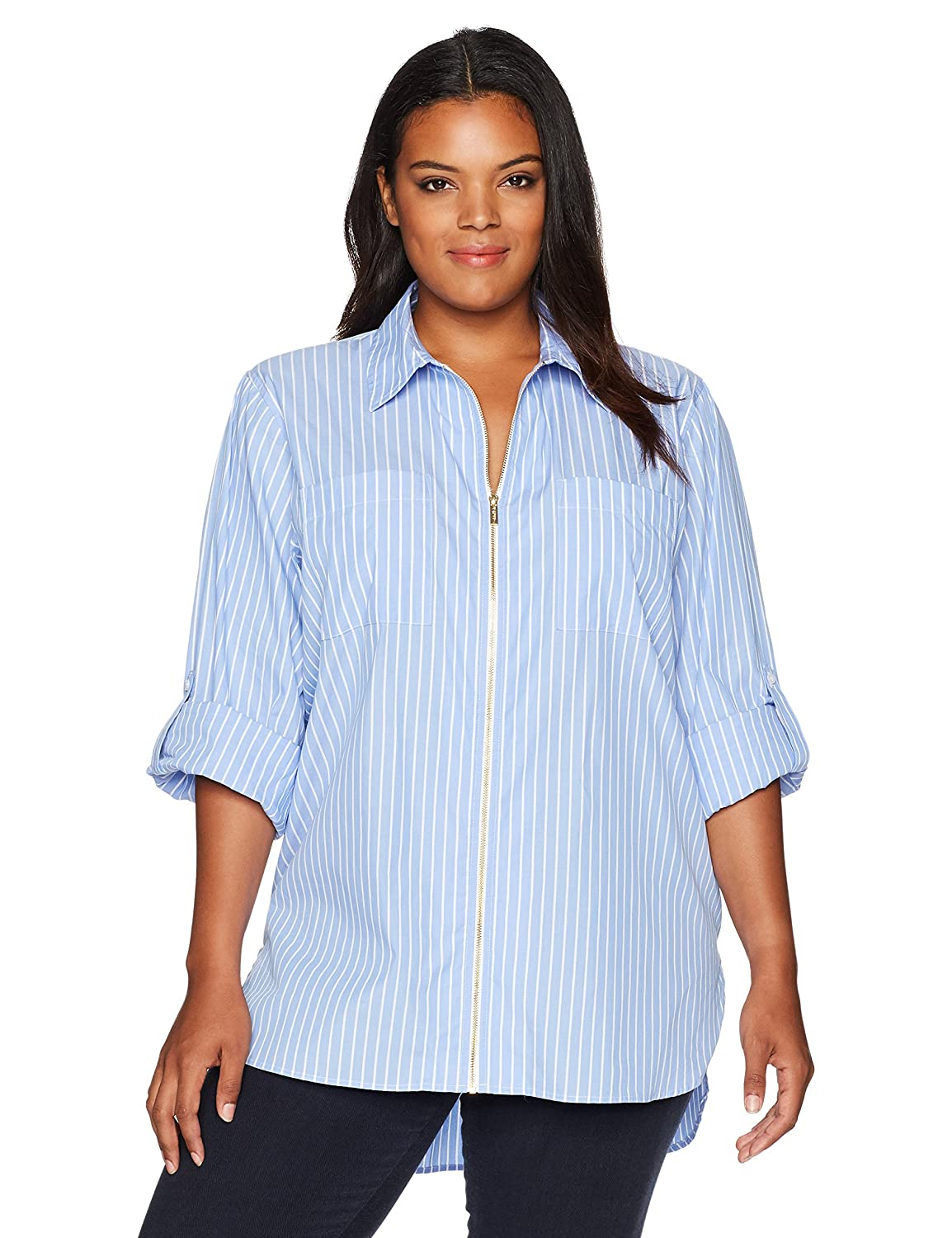 Calvin Klein Women's Plus-Size Zip Front Striped Blouse, Chambray/White, 1X Calvin Klein Women' s Collection w7van561