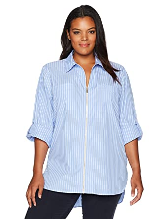 50d58ecda5c52 Calvin Klein Women s Plus Size Zip Front Striped Blouse at Amazon Women s  Clothing store