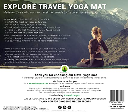MB Zen Explore Esterilla de Yoga de Viaje: Amazon.es ...