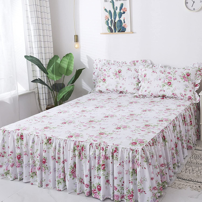 FADFAY Romantic Floral Bedding Set 4 Piece Premium 100% Cotton Pink Rose Print Bedding Ruffle Bedskirt Zipper Duvet Cover Cottage Bedding Queen Hypoallergenic Super Soft Women Girls Bedroom Decor