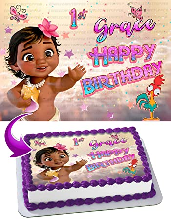 Personalised MOANA Cake Topper Any Name Any Age Birthday Cake Decorations Cookware, Dining & Bar