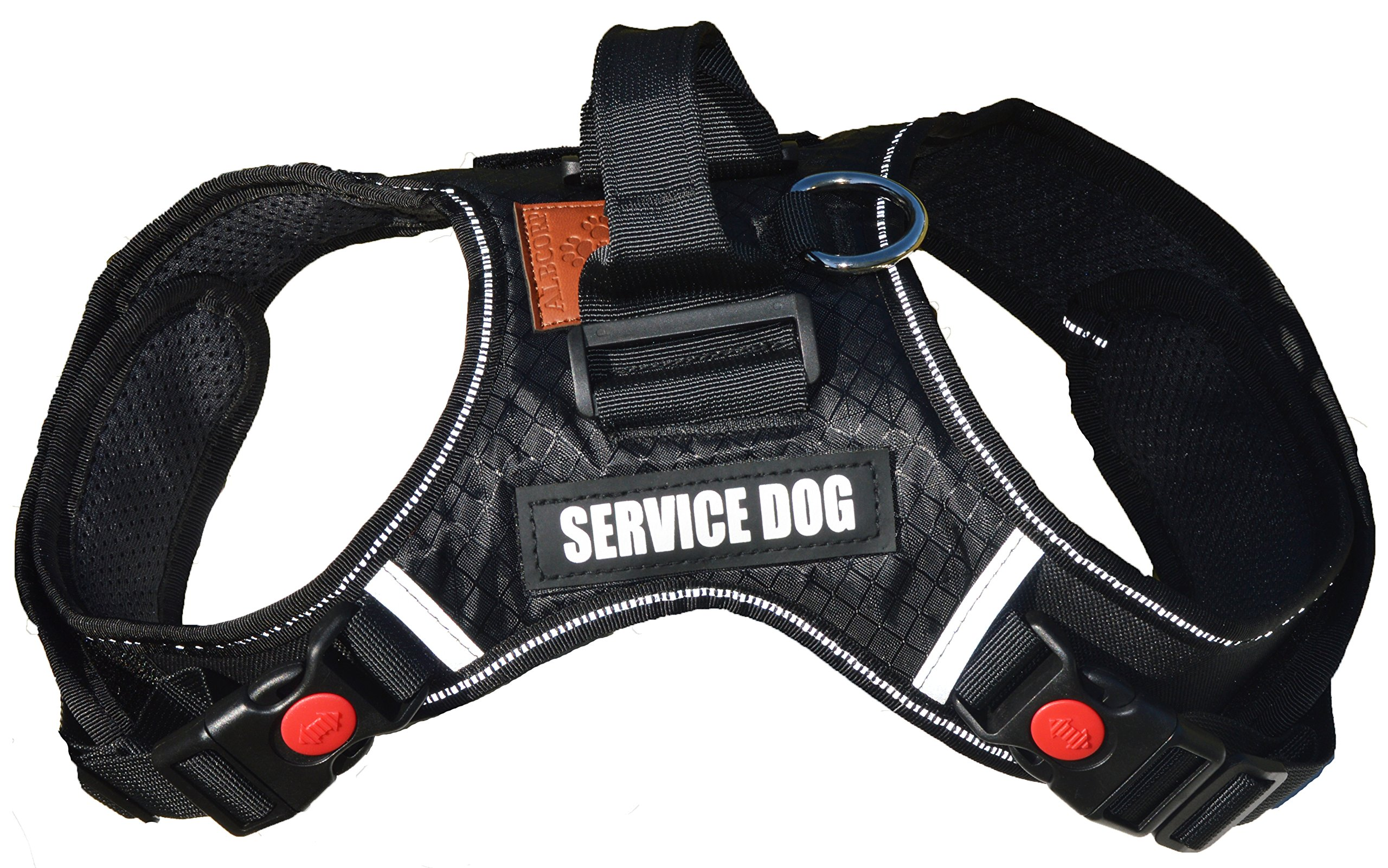 ALBCORP Reflective Service Dog Vest Harness, Woven Nylon, Neoprene Handle, Adjustable Straps, with Comfy Mesh Padding, and 2 Hook and Loop Removable Patches, Small, Black