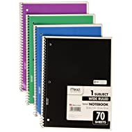 "Mead Spiral Notebooks, 1 Subject, Wide Ruled Paper, 70 Sheets, 10-1/2"" x 7-1/2"", Color Selected For You, 4 Pack (72873)"
