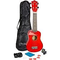 Martin Smith UK-312-RD - Kit de inicio de ukelele, color rojo