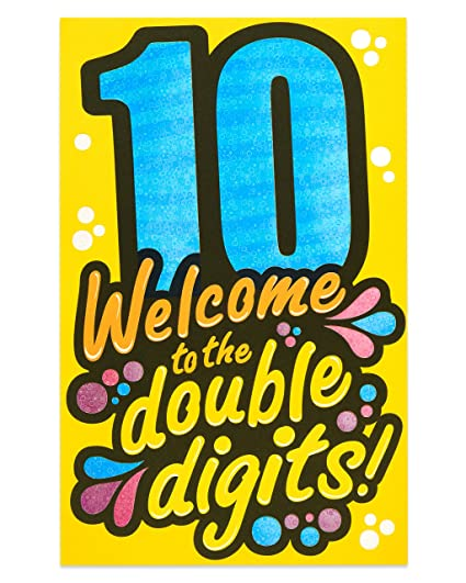 ceaa948f Amazon.com: American Greetings Double Digits 10th Birthday Card with Foil:  Office Products