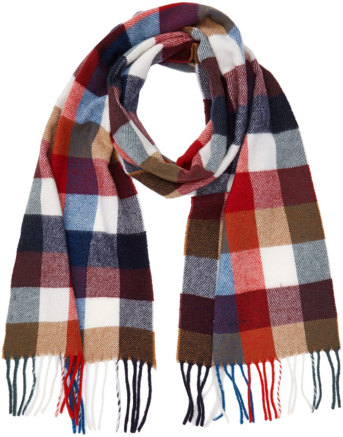 GANT Men s Multicheck Lambswool Scarf (Bright Red), One Size  Amazon.co.uk   Clothing acb80224e95