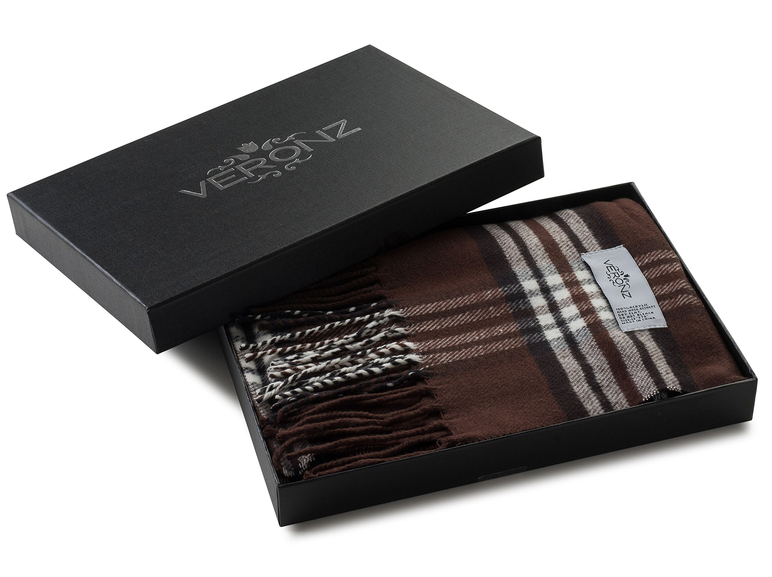 Veronz Super Soft Luxurious Classic Cashmere Feel Winter Scarf (Brown Plaid)