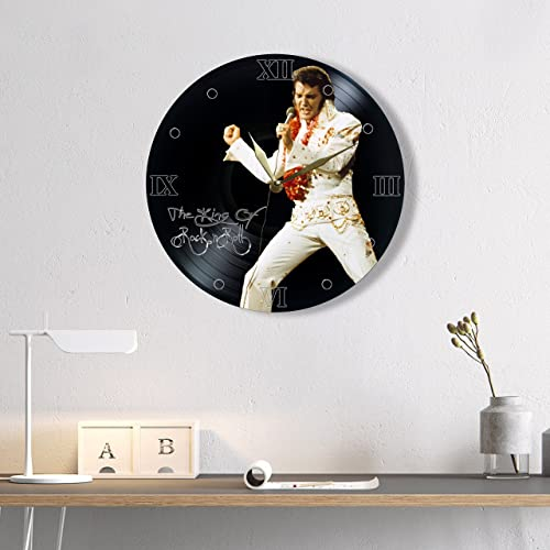 Elvis Presley Vinyl Record Clock Painted – Unique Wall Clock Elvis Presley The King of Rock n roll – Best Gift for Music Lover – Original Wall Home Decor