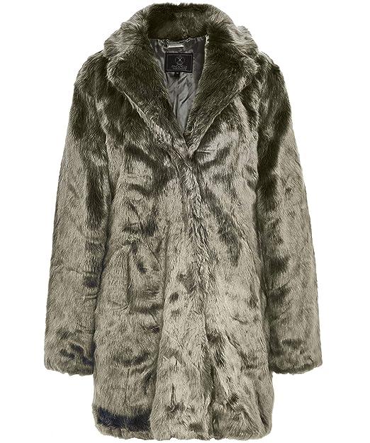 Rino and Pelle Women's Tylia Faux Fur Coat Green UK 14
