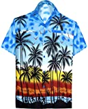 LA LEELA Shirt Casual Button Down Short Sleeve Beach Shirt Men Aloha Pocket 213