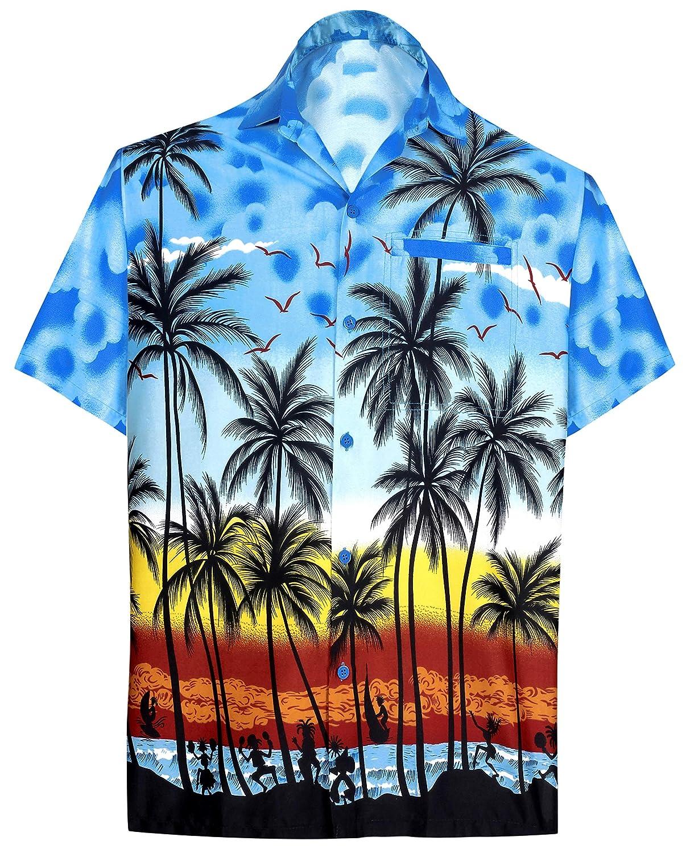 TALLA XS - Pecho Contorno (in cms) : 91 - 96. LA LEELA | Funky Camisa Hawaiana | Señores | XS-7XL | Manga Corta | Bolsillo Delantero | impresión De Hawaii | Playa Playa Fiestas, Verano y Vacaciones