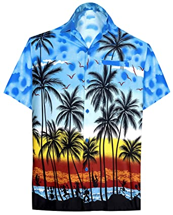 "4e45b50e LEELA Likre Men's Hawaiian Shirt Bright Blue 327 X-Small | Chest 36"" -"
