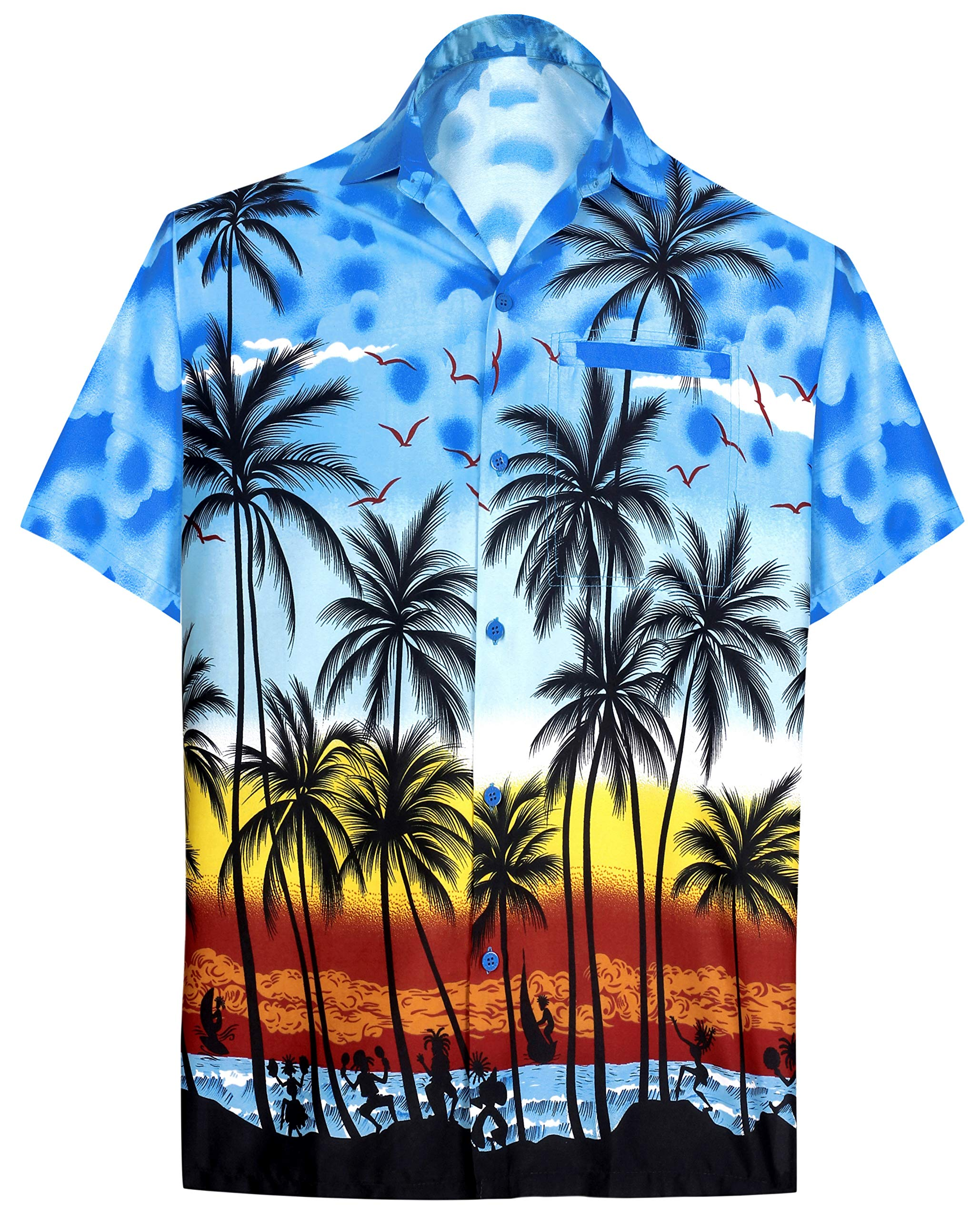 ed661a7b LA LEELA Shirt Casual Button Down Short Sleeve Beach Shirt Men Aloha Pocket  213