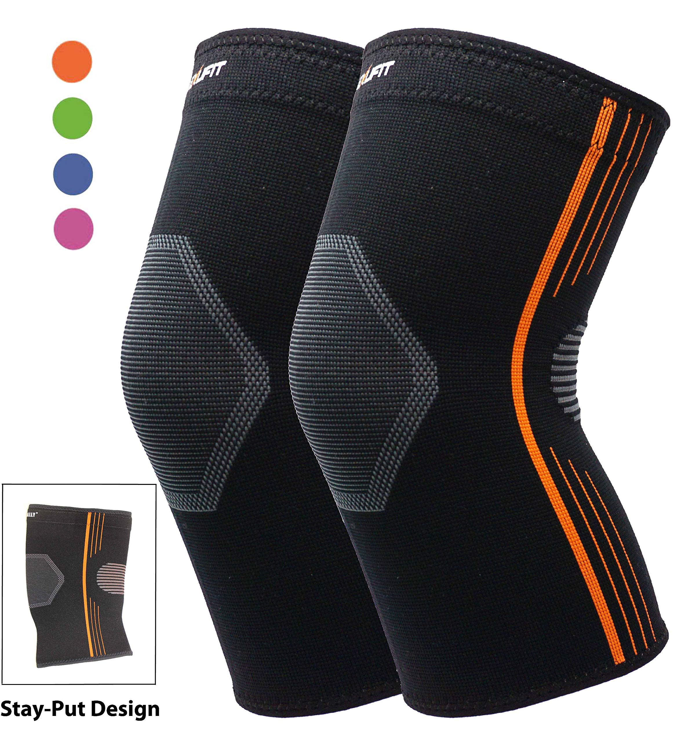 Premium Knee Brace Bursitis Compression Knee Sleeve Stay-Put Breathable for Running Basketball Crossfit Squats Weightlifting Arthritis and Meniscus Tear - 4 Colors (Orange, Small 2-Pack)
