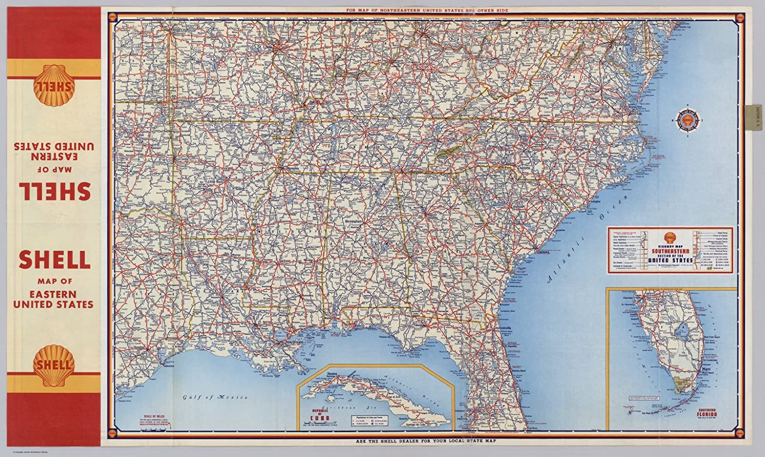 Maps Of The Southeastern United States.Amazon Com Vintprint Map Poster Shell Highway Map Southeastern