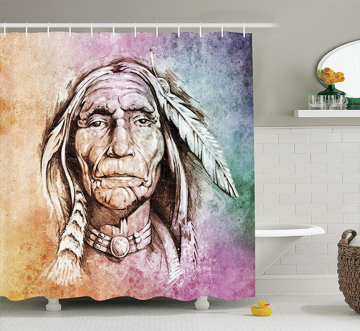 werert Native American Curtain, Shower Curtain, American Portrait of Tribal Chief with Ethnic Feather Band Watercolor Style Image, Fabric Bathroom Decor Set with Hooks, 60 X 72 a322a5