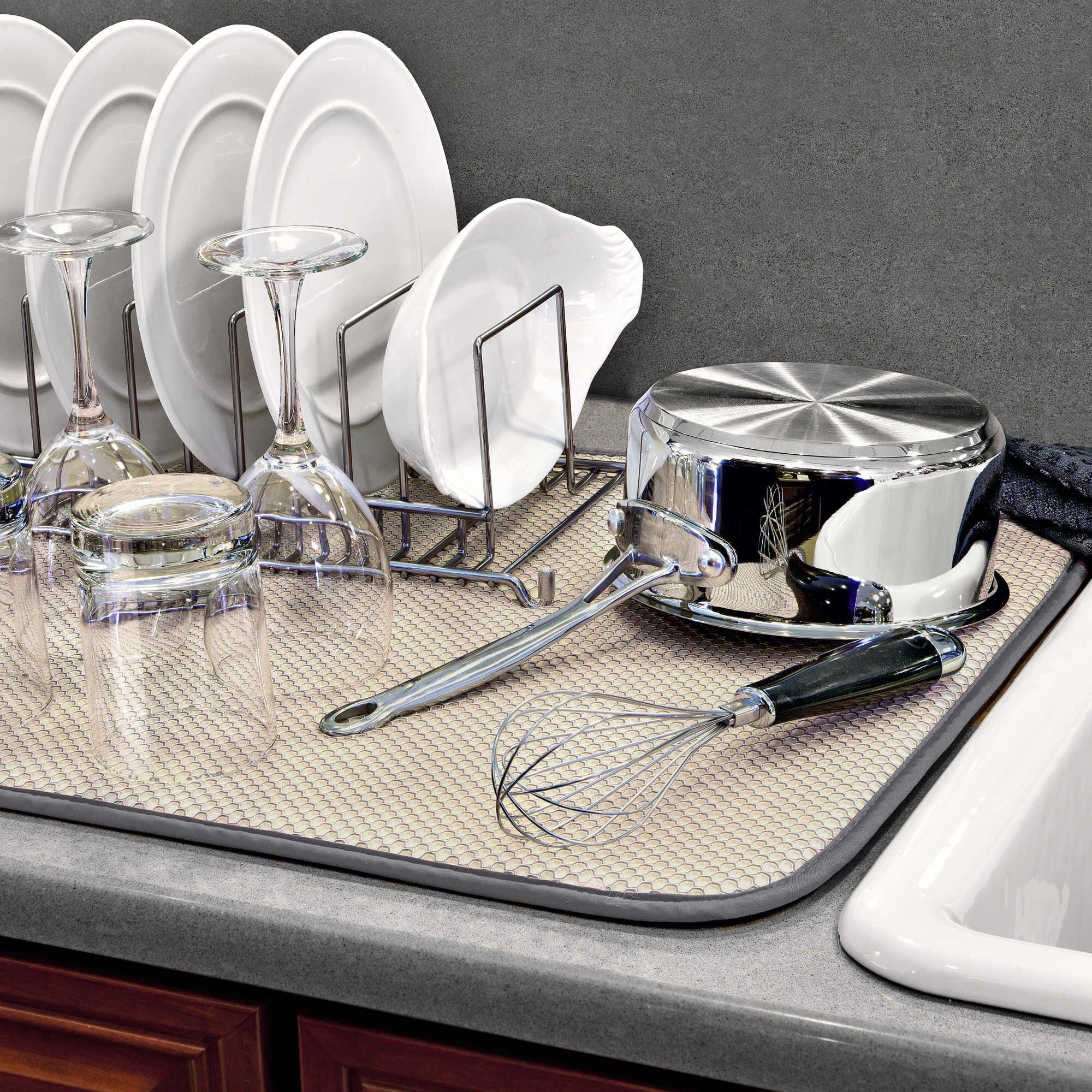 The OriginalTM XL Dual Dish Drying Mat - Dual Sided Microfiber Absorbent Machine Washable Multipurpose 18 X 24 (Grey) by Dish Drying Mat XL