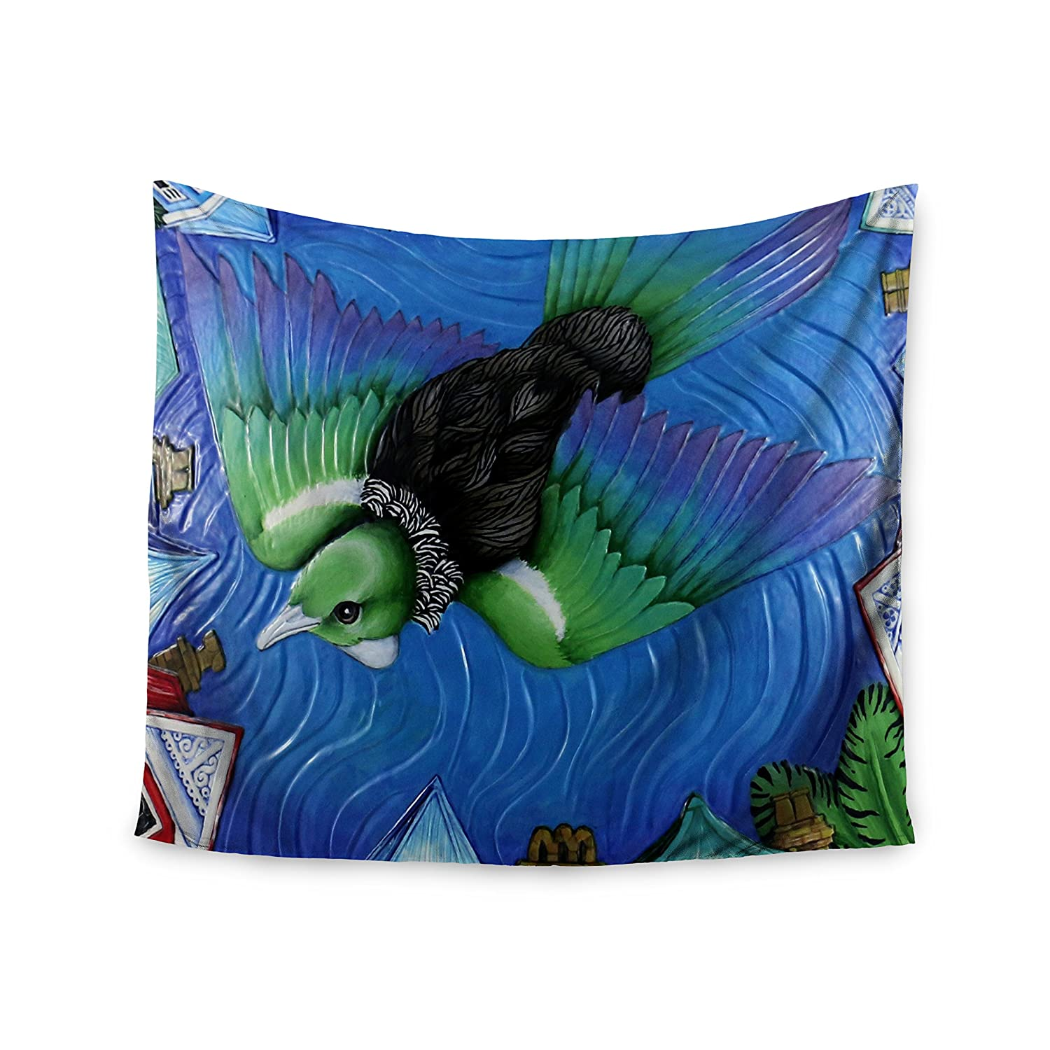 68 x 80 KESS InHouse Vinny Thompson Tui Flying In Pacific Skies Blue Green Wall Tapestry