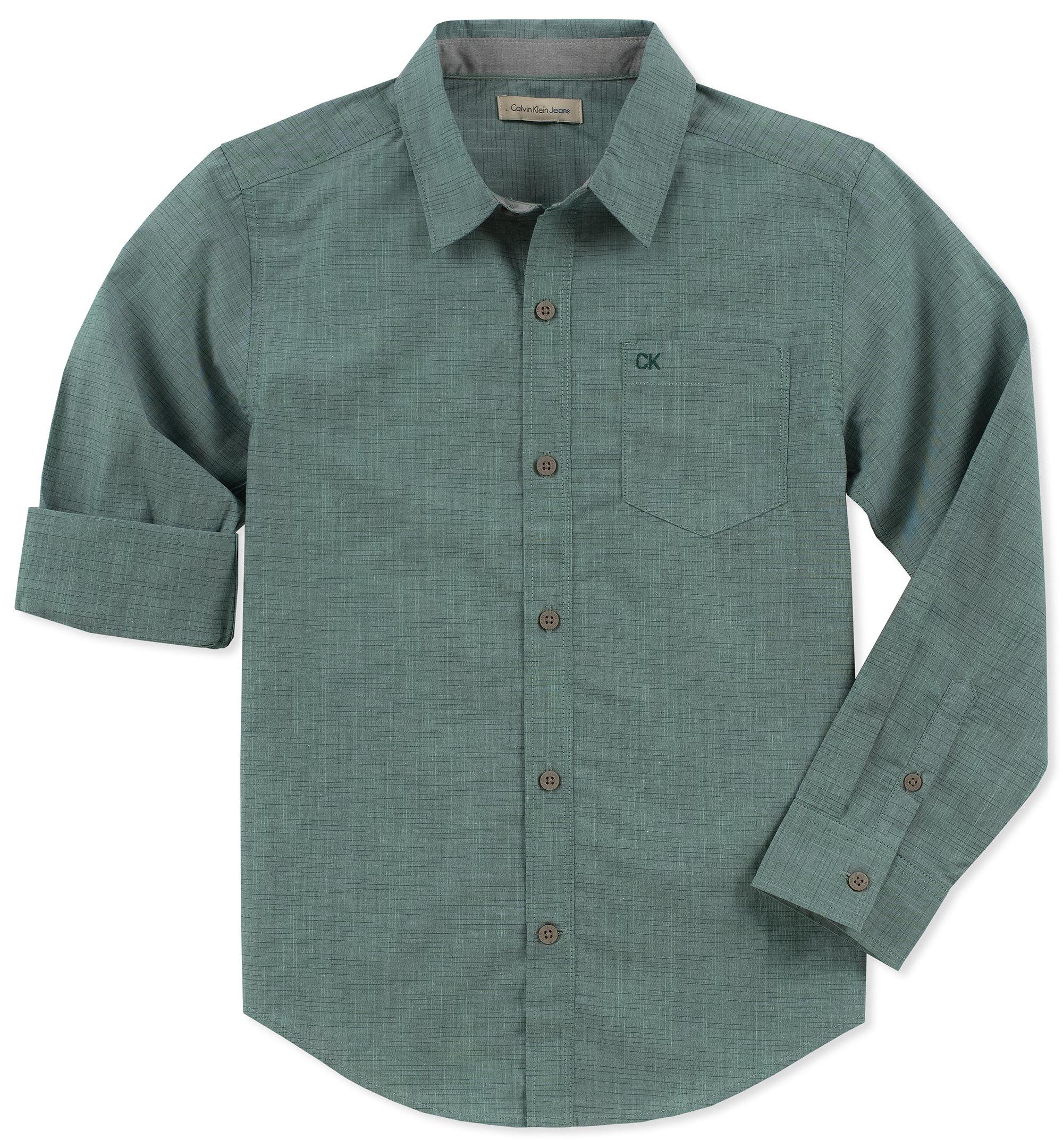 Calvin Klein Boys' Big Long Sleeve Solid Button Down Shirt, slub Green, Small (8)