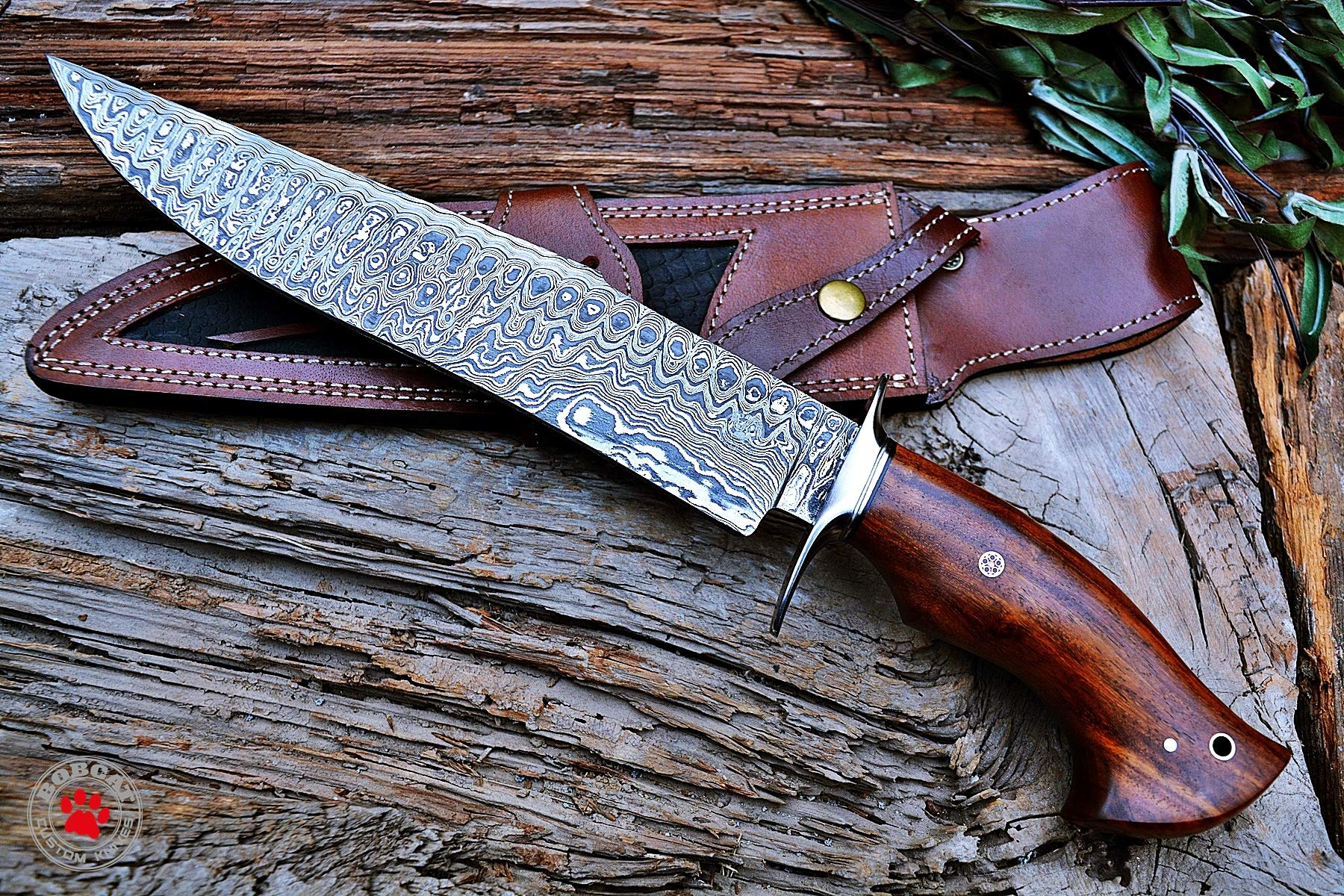 Custom Handmade Bowie Knife Hunting Knife Promotional Price Full Tang Damascus Steel 10'' Solid Walnut Wood Handle with Nice Sheath by Bobcat Knives (Image #7)