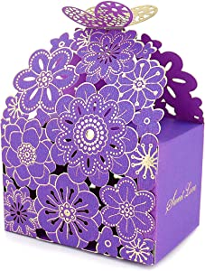 Kslong 50Pcs Flower Butterfly Hollow Candy Box Cookie Gift Boxes Romantic Wedding Favors Cute Chocolate Box for Wedding Bridal Birthday Party Supplies (Purple, L)