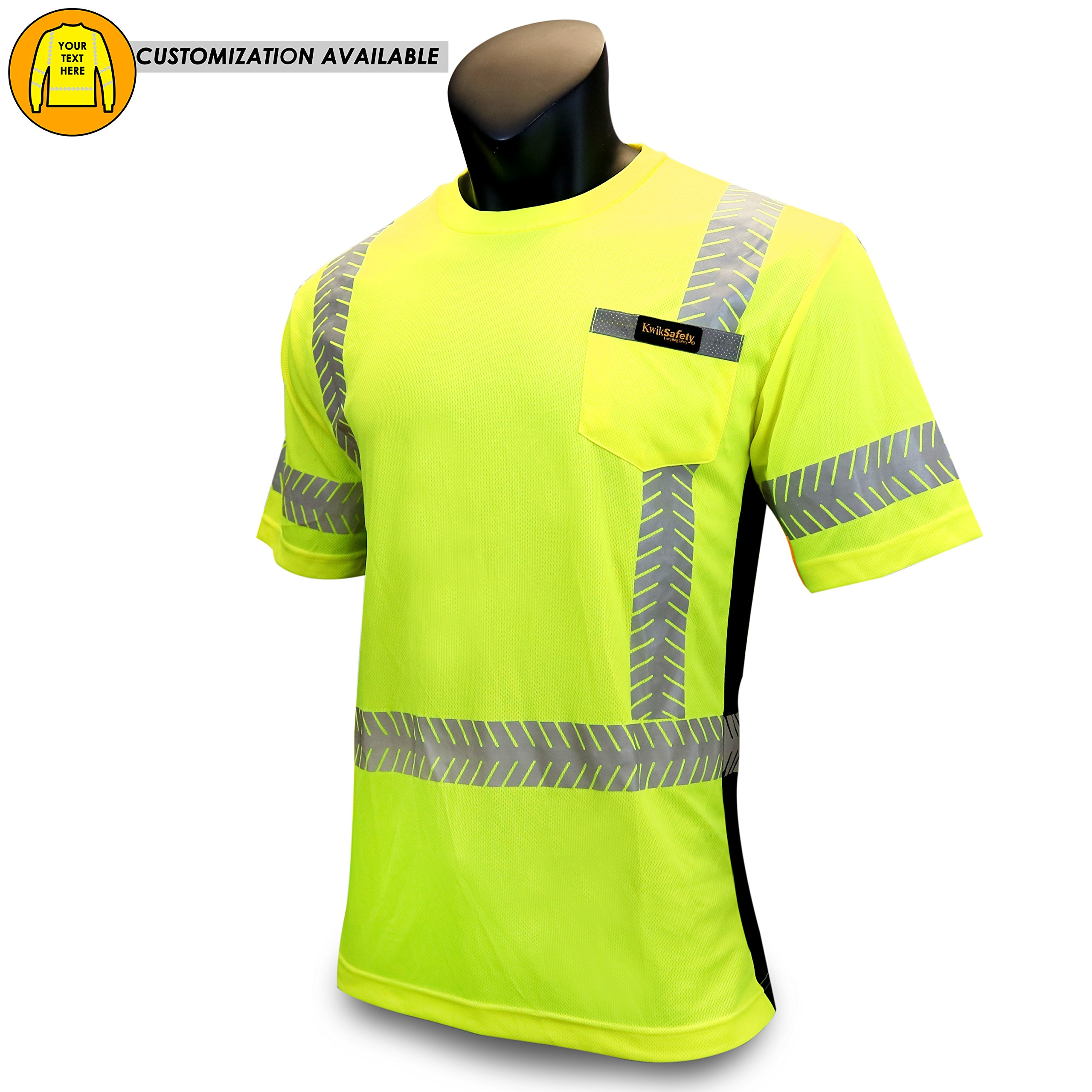 KwikSafety DISCOVERY | Class 2 Short Sleeve Safety Shirt | 360° ANSI Compliant Work Wear | Hi Vis Moisture Wicking Silver Fishbone | Men Women Construction Exercise Security | Yellow X-Large