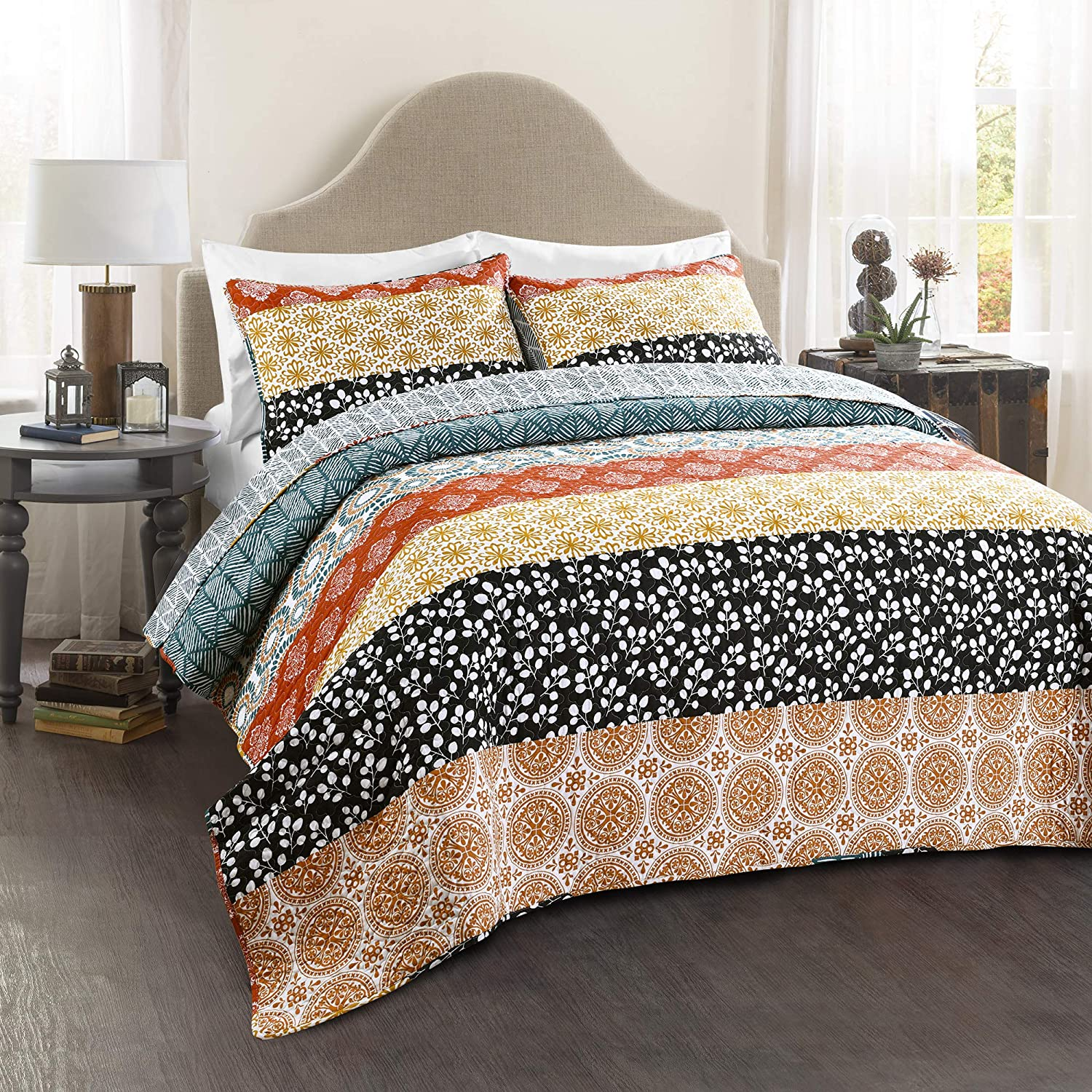 Lush Decor Bohemian Striped Quilt Reversible 3 Piece Colorful Boho Design Bedding Set Full Queen Turquoise Triangle Home Fashions C43134P15-000