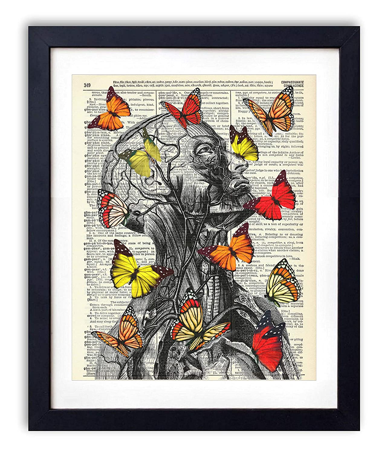 Human Anatomy With Red, Orange and Yellow Butterflies, Upcycled Vintage Dictionary Art Print, Living Room, Bathroom and Home Decor 8x10 Inches, Unframed