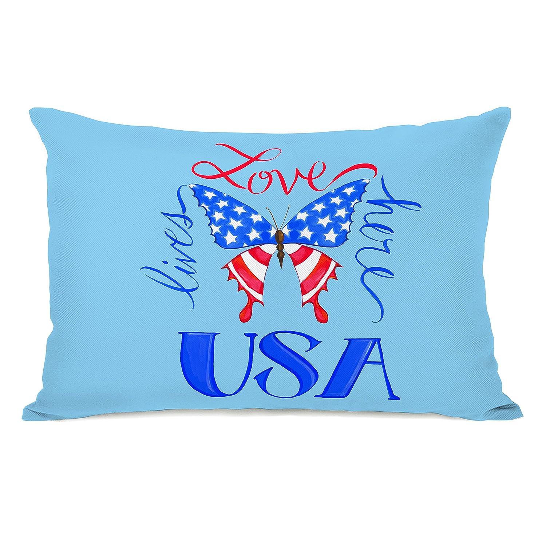 One Bella Casa 74598PL42 'USA Butterfly' Pillow by Pinklight StudioApril Heather Art, Blue