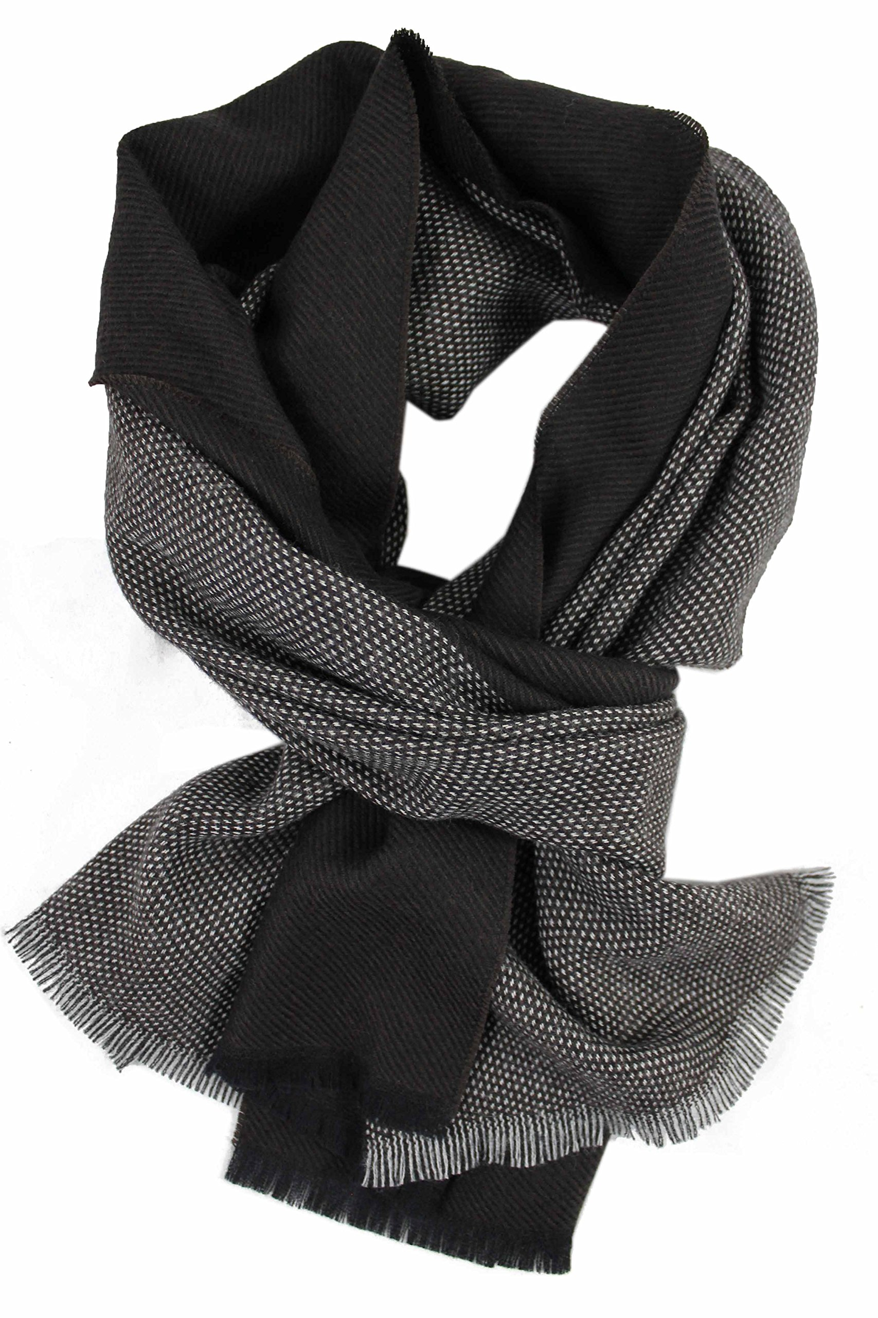 Elegant scarf with two tone pattern - weave scarf, winter scarf, brown, soft