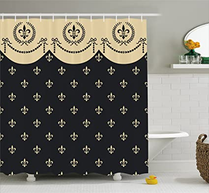 Ambesonne French Decor Shower Curtain By Seamless Pattern Of Fleur De Lis Illustration Baroque Decoration