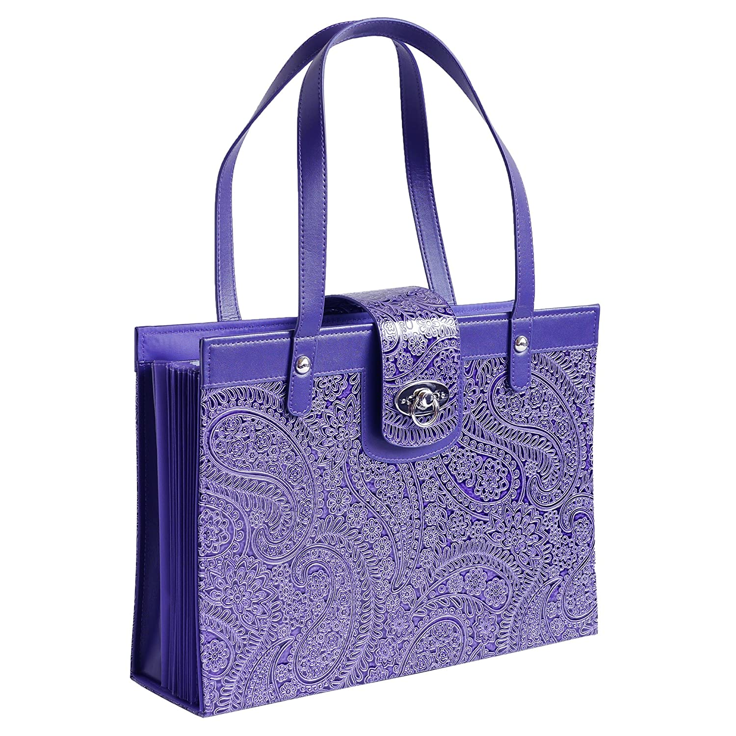Fashion Embossed Paisley Flower File Organizer Tote with Classy Purple Faux Leather