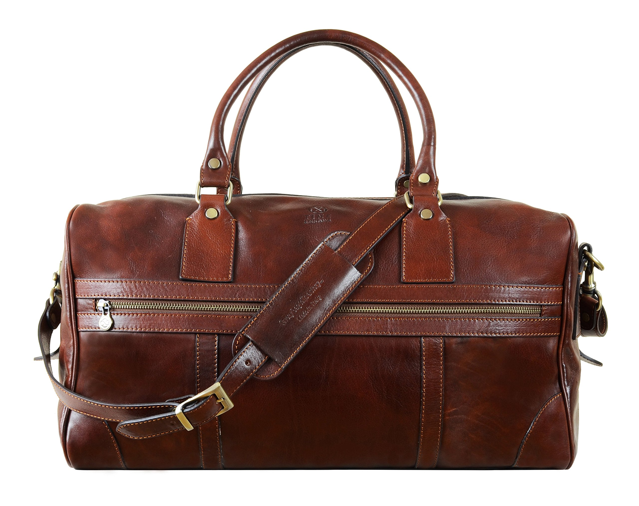 Leather Duffel Bag, Travel Bag, Sports Duffel Bag, Overnight Weekender Bag Brown - Time Resistance