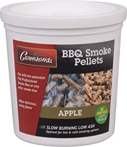 Camerons Smoking Wood Pellets (Apple)- Kiln Dried BBQ Pellets- 100% All Natural Barbecue Smoker Chips- 1 Pint Bucket