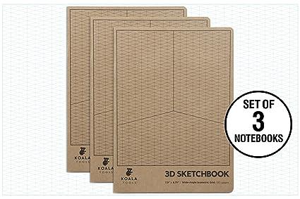 Koala Tools Isometric Graph Paper Notebook 3 Pack