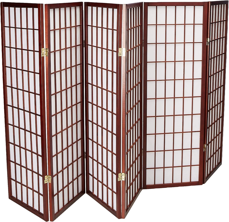 Oriental Furniture 4 ft. Tall Window Pane Shoji Screen - Walnut - 6 Panels